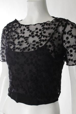 Topshop T-Shirt schwarz florales Muster Romantik-Look