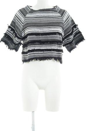 Topshop T-Shirt schwarz-weiß Streifenmuster Boho-Look