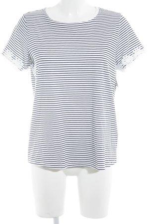 Topshop T-Shirt weiß-dunkelblau Streifenmuster Marine-Look