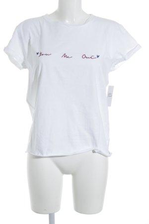 Topshop T-Shirt weiß Schriftzug gestickt Street-Fashion-Look