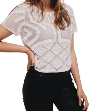 Topshop T-Shirt weiß Transparenz-Optik