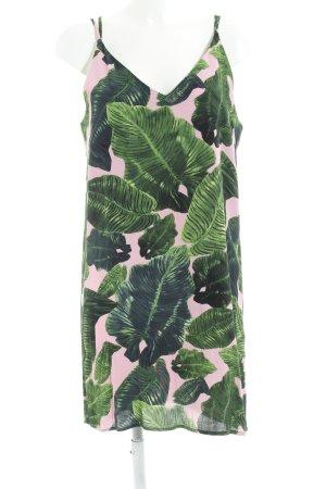 Topshop Trägerkleid waldgrün-rosa florales Muster Casual-Look