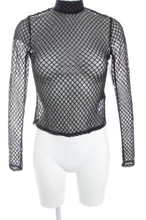 Topshop Blusa trasparente nero-argento stile minimalista