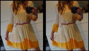 Topshop Traum!! Kleid Plissee Chiffon Color Block gelb nude rückenfrei Zara