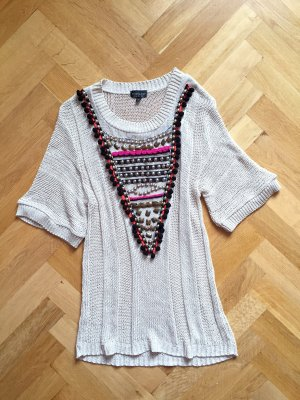 Topshop Tunika, Strick-Top, Mini-Kleid, Pailletten Perlen Hippie, Gr. 36 S