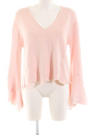 Topshop V-Ausschnitt-Pullover hellrosa Casual-Look