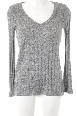 Topshop V-Ausschnitt-Pullover schwarz-weiß meliert Casual-Look