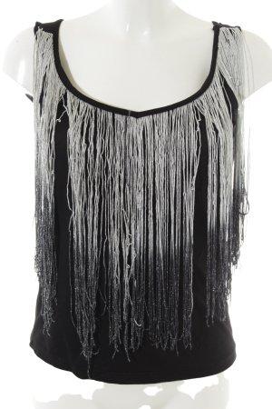 Topshop V-Ausschnitt-Shirt schwarz-silberfarben Elegant