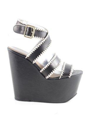 Topshop Wedges Sandaletten schwarz-creme extravaganter Stil
