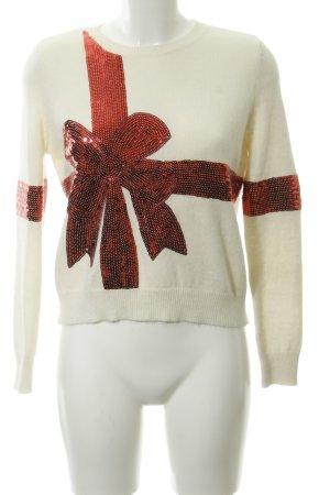 Topshop Sudadera navideña blanco puro-rojo mullido