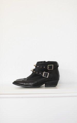 Topshop Western Cowboy Boots Nieten schwarz echtes Leder Gr. 38