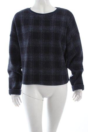 Topshop Wollpullover dunkelblau-kornblumenblau Webmuster Vintage-Look