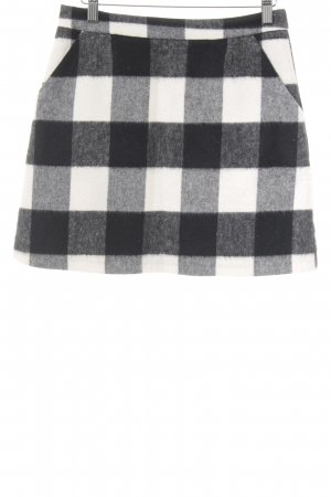 Topshop Wool Skirt black-natural white Vichy check pattern elegant