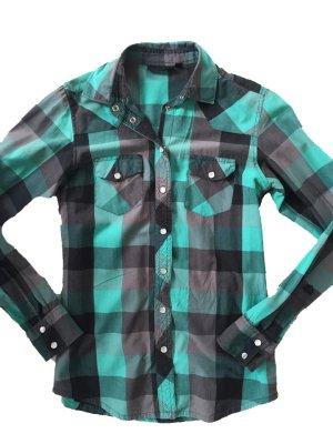 Topshop Long Sleeve Shirt forest green-dark grey cotton
