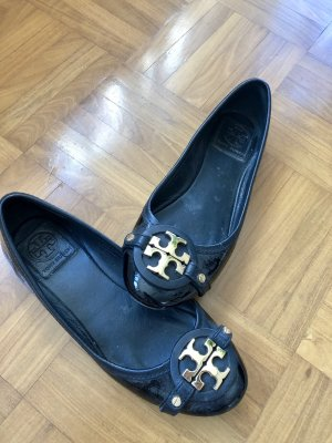 Tory Burch Patent Leather Ballerinas black-gold-colored