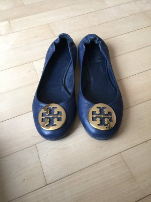 Tory Burch Patent Leather Ballerinas blue leather