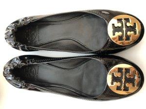 Tory Burch Ballerina di pelle verniciata nero-oro