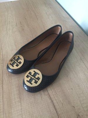 Tory Burch Ballerinas Gr. 40 Schuhe dunkelblau Gold
