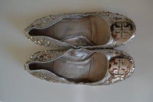 Tory Burch Ballerinas Gr. 40 Silberpailetten