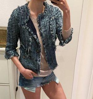 Tory Burch Blue & Silver Bouclé Tweed Jacke, Blazer