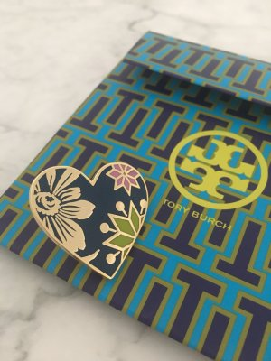 Tory Burch Brosche Pin Anstecker gold blau