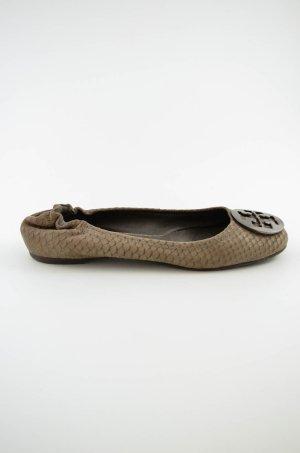 TORY BURCH Damen Ballerinas Schuhe Flach Reptil-Optik Taupe Leder Klassisch 38