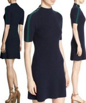 Tory Burch Designer Merino Wolle Damen Kleid, Elegant, Ausgefallene Details, Komfortabel