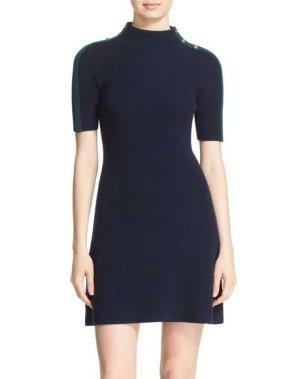 Tory Burch Designer Merino Wolle Damen Kleid, Elegant, Sporty, Ausgefallene Details