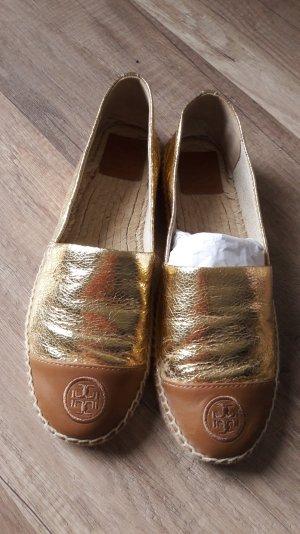 Tory Burch Espadrilles Espadrillos Espas Slipper Gold Cognac Logo 40