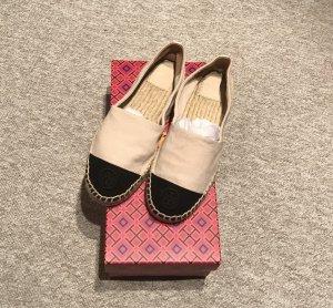 Tory Burch Espadrille sandalen zwart-licht beige
