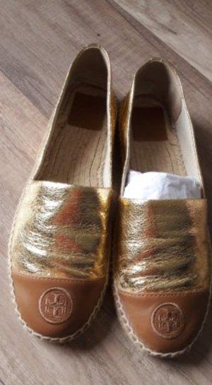 Tory Burch Espas Espadrilles Espadrillos Gold Cognac Leder Metallic