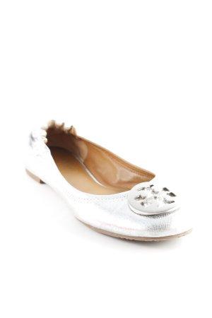 Tory Burch faltbare Ballerinas silberfarben extravaganter Stil