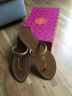 Tory Burch High-Heeled Toe-Post Sandals gold-colored