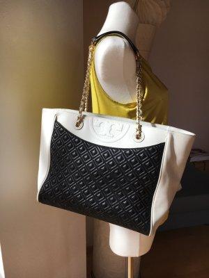 Tory Burch Fleming Tote Shopper große Tasche schwarz weiß gold mit Steppung