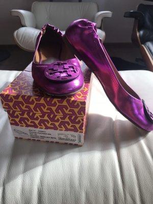Tory Burch Lakleren ballerina's violet