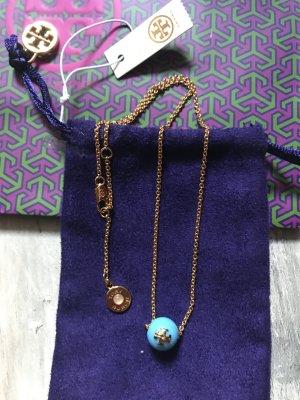 Tory Burch Halskette neu mit Etikett Gold/Türkis 95€