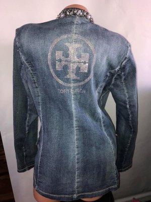 Tory Burch Jeans Jacke in gr 40 Farbe Blau Swarovski Strass gebraucht