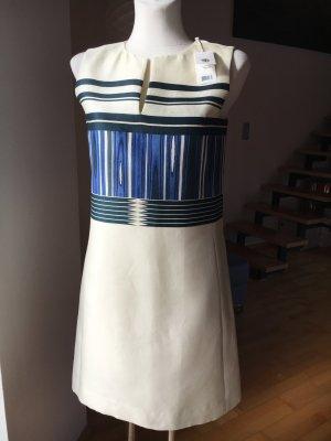 Tory Burch Kleid NEU cremeweiß blau aus Seide und Baumwolle