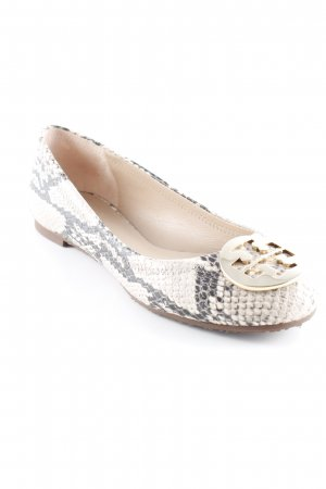 Tory Burch Patent Leather Ballerinas cream-dark grey reptile print