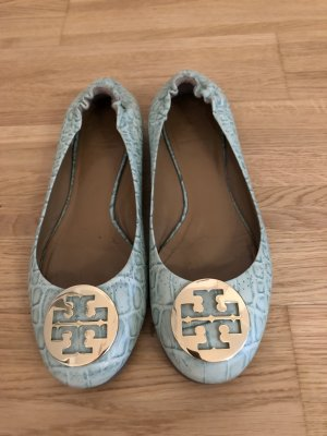 Tory Burch Lackballerinas wollweiss -Türkis  Animalmuster Business-Look
