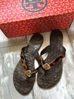 Tory Burch High-Heeled Toe-Post Sandals bronze-colored-gold-colored leather