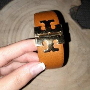 Tory Burch Bracelet en cuir doré-cognac