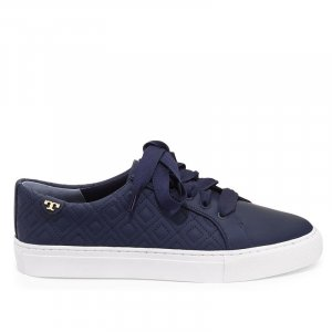 Tory Burch Marion Quilted Leather Low-top Sneakers, Navy, Gr. 40