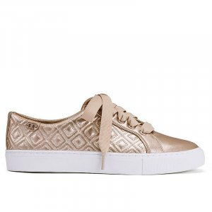 Tory Burch Marion Quilted Metallic Sneakers, Leder, Gold, Gr. 40