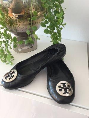 Tory Burch Reva Ballerinas Gr 38 schwarz Silber