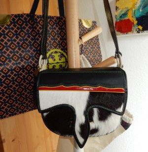 Tory Burch Saddlebag/Umhängetasche mit Fell schwarz/weiß