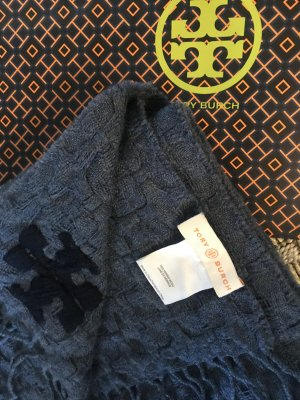 Tory Burch Schal 100% Merino Wolle Tuch blau blaugrau Strick oversize Fransen