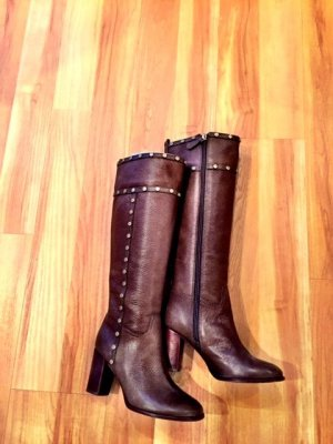 Tory Burch Heel Boots bronze-colored-grey brown leather