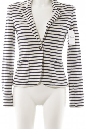 Tory Burch Knitted Blazer natural white-dark blue striped pattern classic style