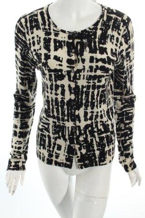 Tory Burch Strickjacke schwarz-wollweiß abstraktes Muster Casual-Look